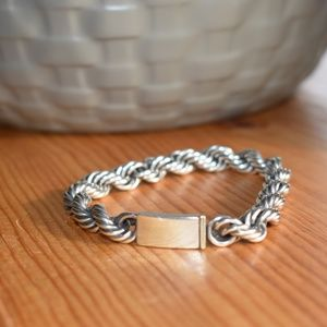 Thick Sterling Silver Rope Chain Bracelet